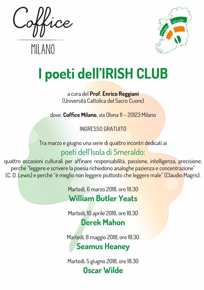 incontro sui poeti dell'irish club da Coffice Milano